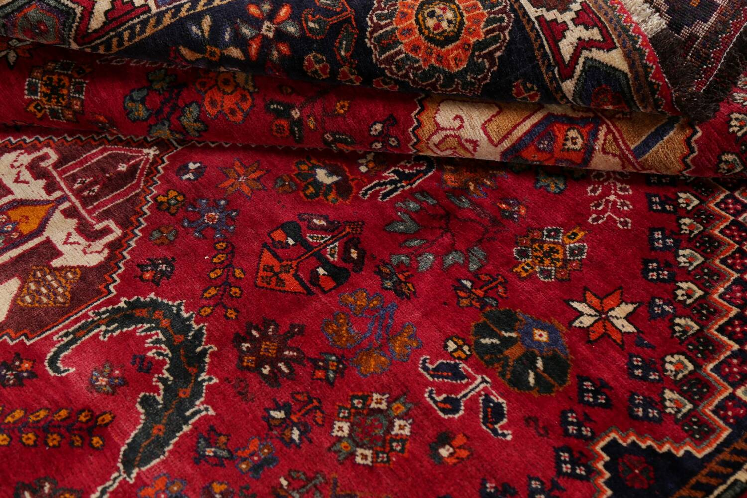 Vintage Red Geometric Abadeh Persian Area Rug 6x9 image 18