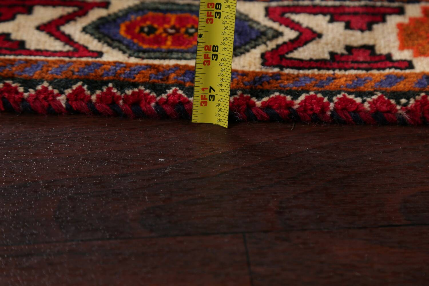 Vintage Red Geometric Abadeh Persian Area Rug 6x9 image 21