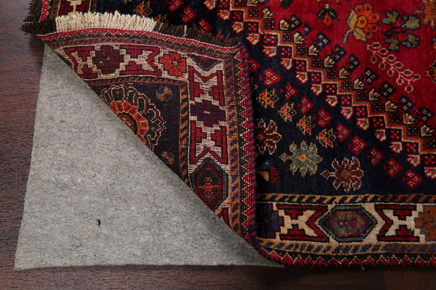 Vintage Red Geometric Abadeh Persian Area Rug 6x9 image 7