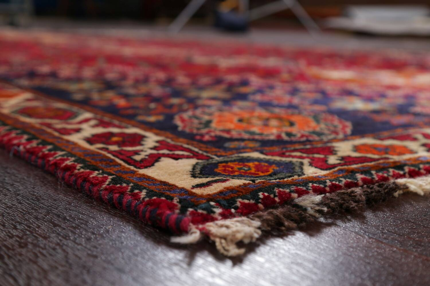 Vintage Red Geometric Abadeh Persian Area Rug 6x9 image 6