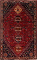 Vintage Red Geometric Abadeh Persian Area Rug 6x9 image 1