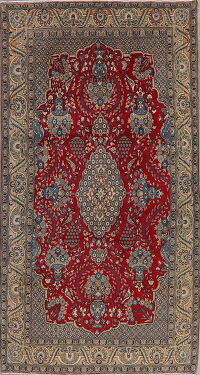 Vintage Floral Red Shahreza Persian Area Rug 5x8