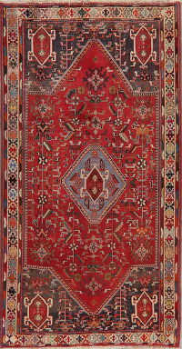 Vintage Geometric Red Abadeh Persian Area Rug 4x8