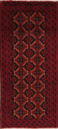 Geometric Red Balouch Oriental Area Rug 2x4