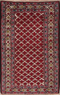 All-Over Geometric Kazak Azerbaijan Area Rug 3x4