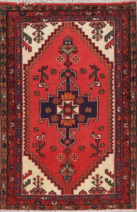 Geometric Red Hamedan Persian Area Rug 3x5