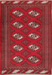 Geometric Red Balouch Oriental Area Rug 3x5