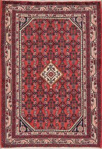 Geometric Red Rust Hamedan Persian Are Rug 3x5