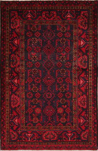 Red & Charcoal Geometric Nahavand Persian Area Rug 4x6