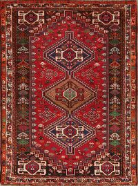 Vintage Geometric Red Abadeh Persian Area Rug 4x5