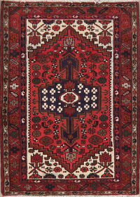 Geometric Red Hamedan Persian Area Rug 4x5
