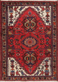 Animal Pictorial Tribal Hamedan Persian Area Rug 3x5