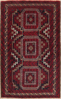 Geometric Red Balouch Afghan Oriental Area Rug 3x6