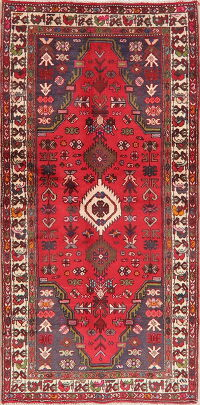 Vintage Geometric Hamedan Red Persian Area Rug 3x6