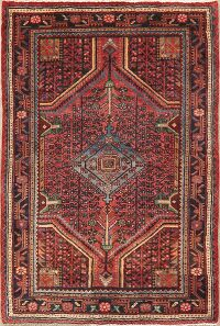 Vintage Geometric Hamedan Red Persian Area Rug 4x5
