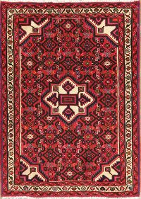 Geometric Hamedan Red Persian Area Rug 3x5