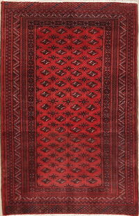 Vintage Geometric Balouch Oriental Red Area Rug 3x5