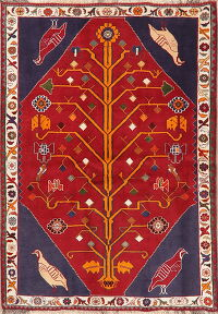 Animal Pictorial Tribal Shiraz Red Persian Area Rug 4x6