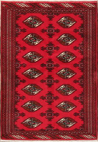 Geometric Balouch Oriental Red Area Rug 3x5