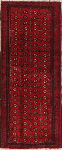 Geometric Balouch Red Persian Area Rug 3x6