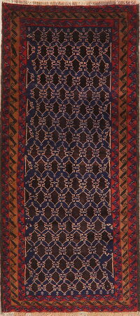 Geometric Balouch Navy Persian Runner Rug 3x7