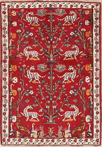 Animal Pictorial Shiraz Red Persian Area Rug 4x5