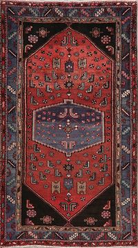 Vintage Geometric Red Hamedan Persian Area Rug 4x8
