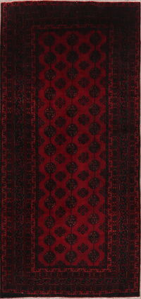 Geometric Red Balouch Persian Runner Rug 4x8