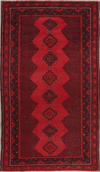 Vintage Geometric Red Balouch Persian Area Rug 4x8