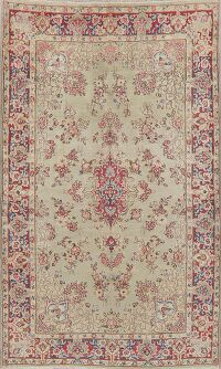 Antique Green Floral Kerman Persian Area Rug 5x8