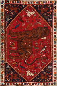 Animal Pictorial Vintage Red Shiraz Persian Area Rug 4x6