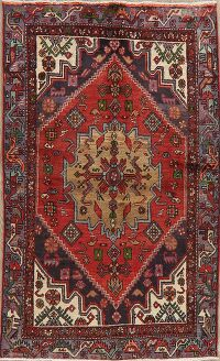 Vintage Geometric Red Hamedan Persian Area Rug 4x6