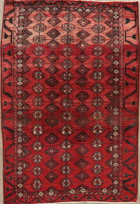 Geometric Red Balouch Persian Area Rug 4x6