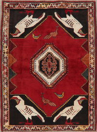Animal Pictorial Red Shiraz Persian Area Rug 4x6