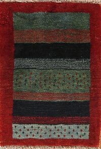 Striped Gabbeh Persian Area Rug 2x2