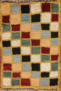 Checkered Gabbeh Persian Area Rug 1x2