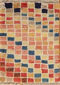 Checked Multi-Colored Gabbeh Shiraz Persian Area Rug 1x2