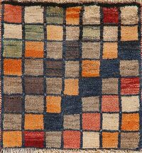 Checked Gabbeh Shiraz Persian Area Rug 2x2 Square