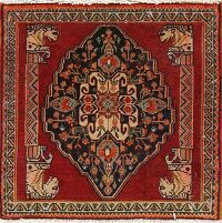 Geometric Red Abadeh Persian Area Rug 2x2 Square