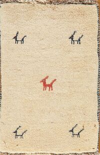 Animal Pictorial Gabbeh Shiraz Persian Area Rug 2x3