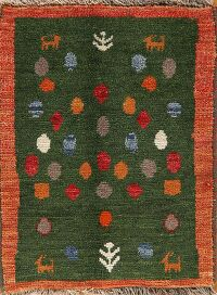 Green Gabbeh Shiraz Persian Area Rug 2x3