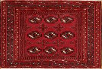 Vintage Geometric Red Balouch Persian Area Rug 2x3