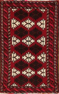 Geometric Red Balouch Persian Area Rug 2x3