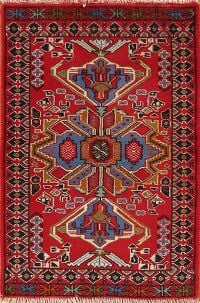 Geometric Red Hamedan Persian Area Rug 2x3