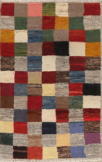 Checkered Gabbeh Persian Area Rug 3x4