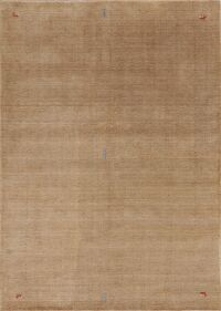 Contemporary Brown Gabbeh Area Rug Wool 7x10