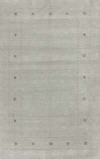 Contemporary Gray Blue Gabbeh Area Rug Wool 6x10