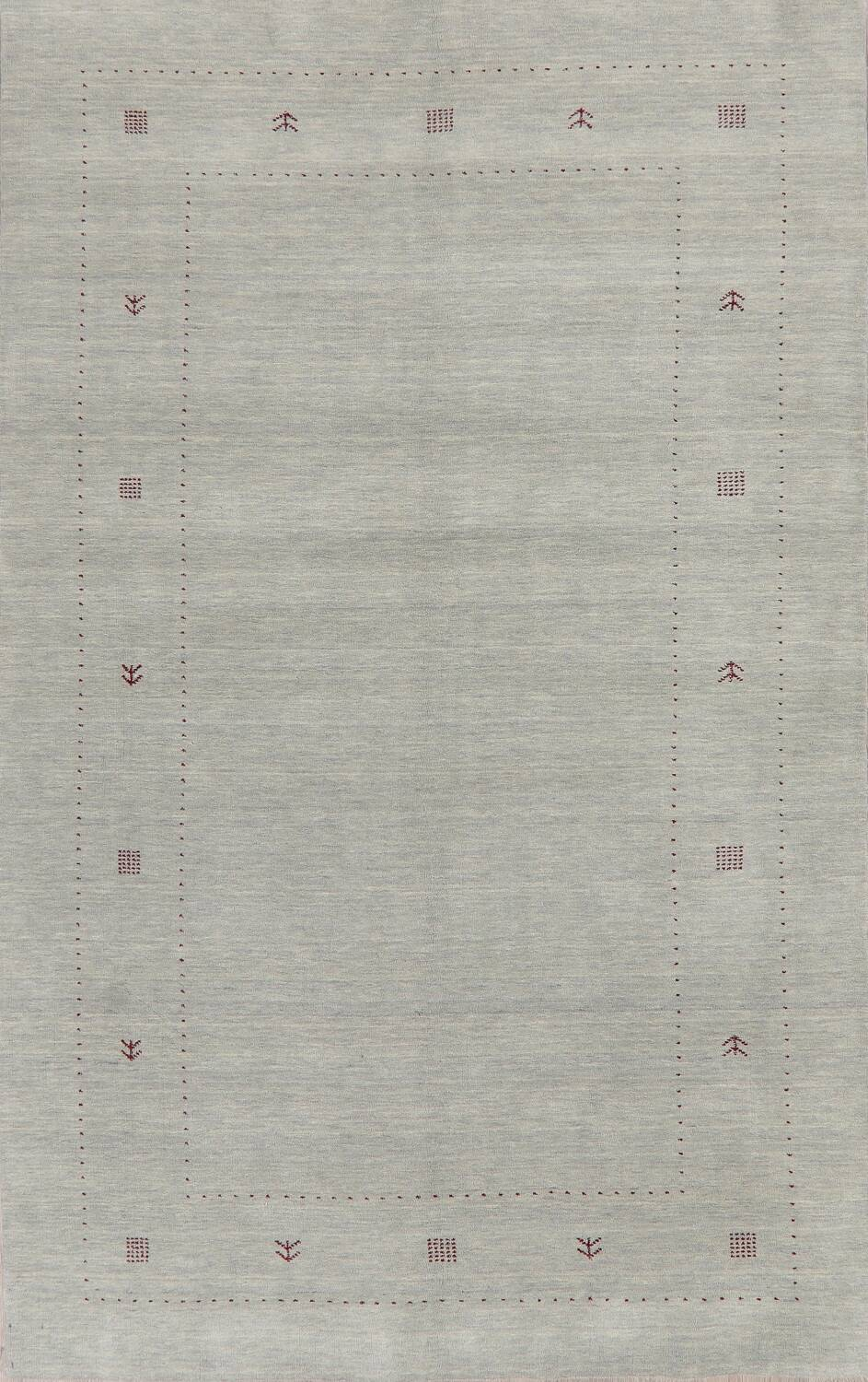 Contemporary Gray Blue Gabbeh Area Rug Wool 6x10 image 1