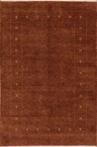 Brown Gabbeh Modern Area Rug Wool 5x8