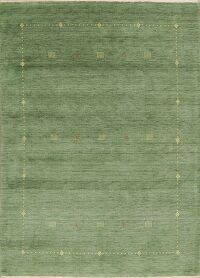 Contemporary Green Gabbeh Modern Area Rug Wool 6x8